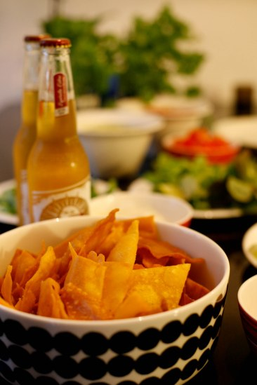 Nachos and Mexican beer